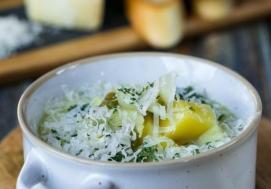 Krem z ziemniaków z porem i parmezanem (4 porcje)